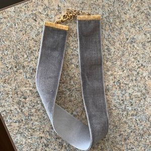Grey Choker Necklace with Gold Hardware